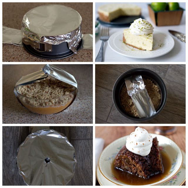 photo collage showing the use of a foil sling to get a pan out of a pressure cooker.