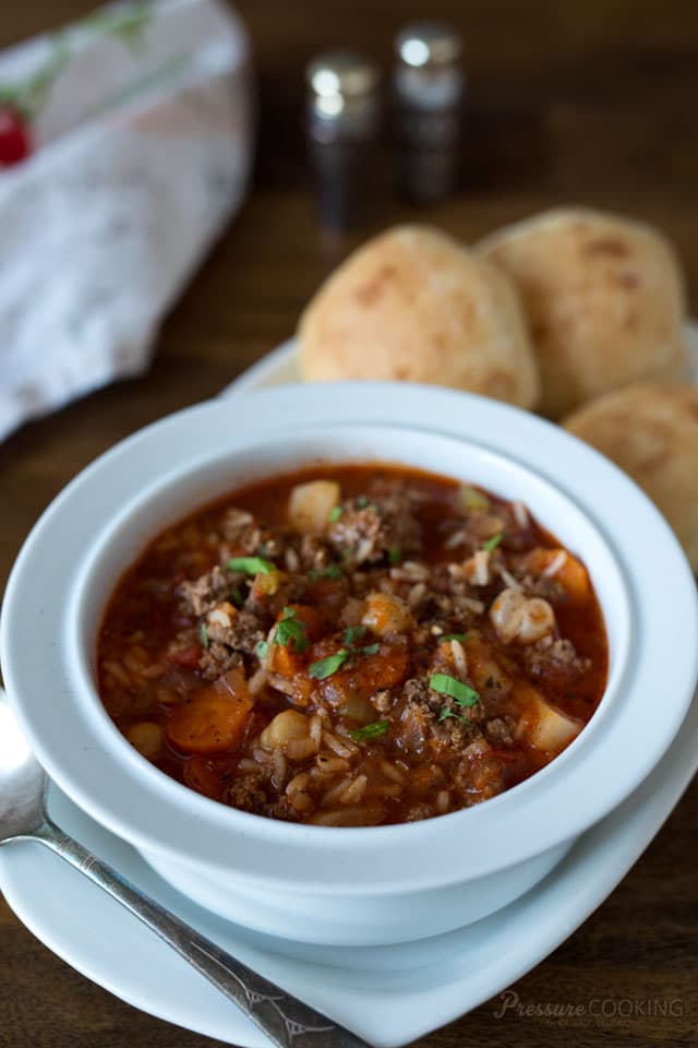 Pressure Cooker Vegetable Beef and Rice Soup