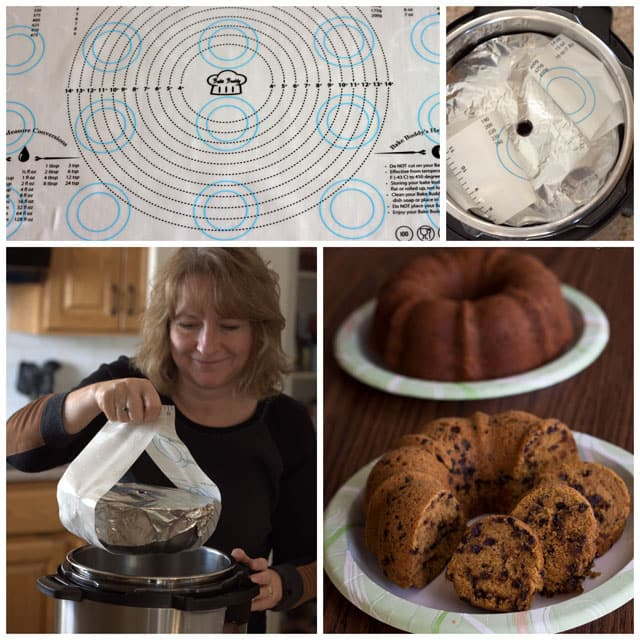 collage showing a woman using a silicone sling to get a pan out of the pressure cooker.