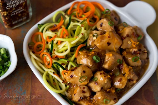 Close up of Pressure Cooker (Instant Pot) Orange Chicken in a white bowl