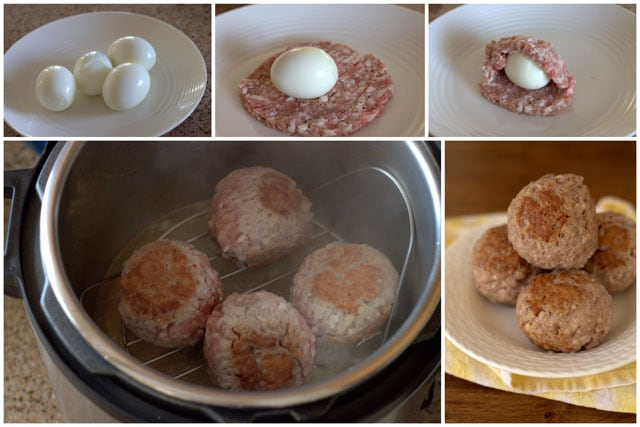 collage of photos showing the making Pressure-Cooker-Scotch-Eggs