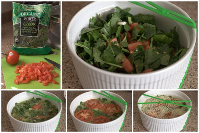 collage of making an Instant Pot quiche with fresh spinach and tomatoes