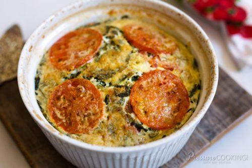 Pressure Cooker (Instant Pot) Crustless Tomato Spinach Quiche