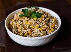 Pressure Cooker (Instant Pot) Israeli Couscous in a white bowl