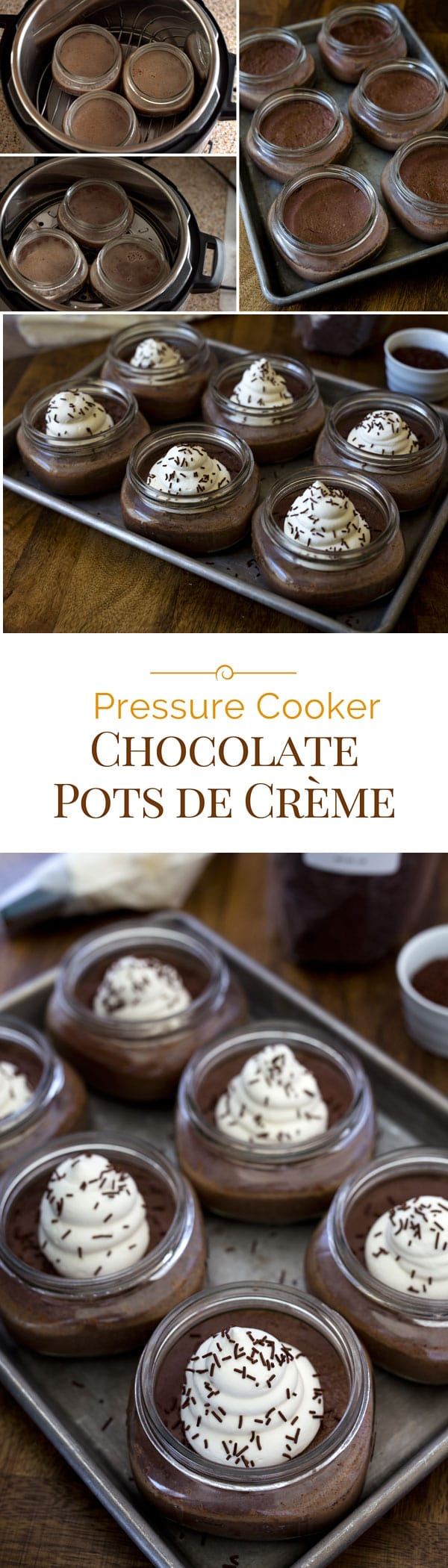 Chocolate Pots de Crème is a decadent and creamy chocolate custard dessert. Baked chocolate custard made in an Instant Pot is effortless and quick. This Pressure Cooker Chocolate Pots de Crème recipe is elegant enough for entertaining, but simple enough for a casual weeknight dessert. #instantpot #pressurecooking #dessertrecipe #chocolate via @PressureCook2da