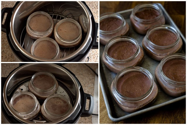 photo collage - 1/2 pint mason jars filled with chocolate custard sitting inside of an Instant Pot