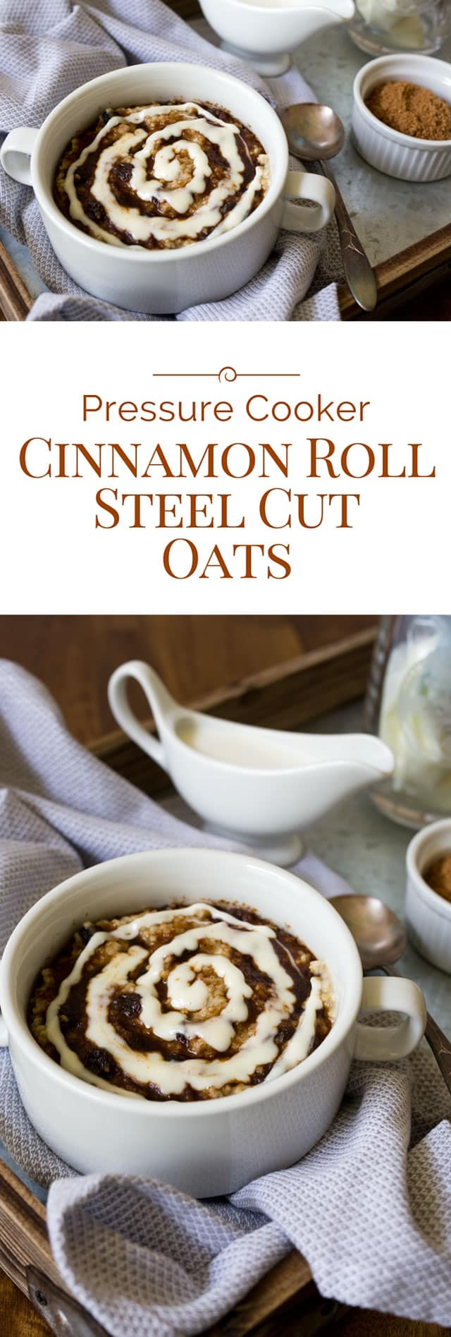 Cinnamon roll steel cut oats is a delicious and sweet baked oatmeal topped with brown sugar cinnamon and a swirl of cream cheese icing, made in an Instant Pot electric pressure cooker. Why have plain boring oatmeal when you can make this baked cinnamon roll steel cut oatmeal recipe? #instantpot #pressurecooker #pressurecooking #breakfast #oatmeal via @PressureCook2da