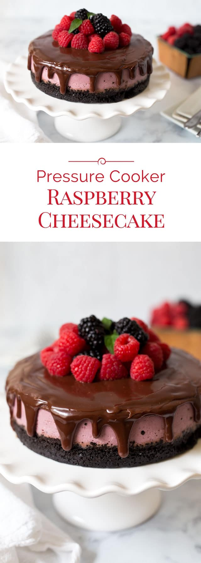 This colorful Pressure Cooker Raspberry Cheesecake has an Oreo cookie crust covered with rich chocolate ganache and crowned with fresh raspberries and blackberries. It's easy to make a creamy cheesecake in an Instant Pot. #pressurecooker #instantpot #cheesecake #dessert #pressurecooking via @PressureCook2da