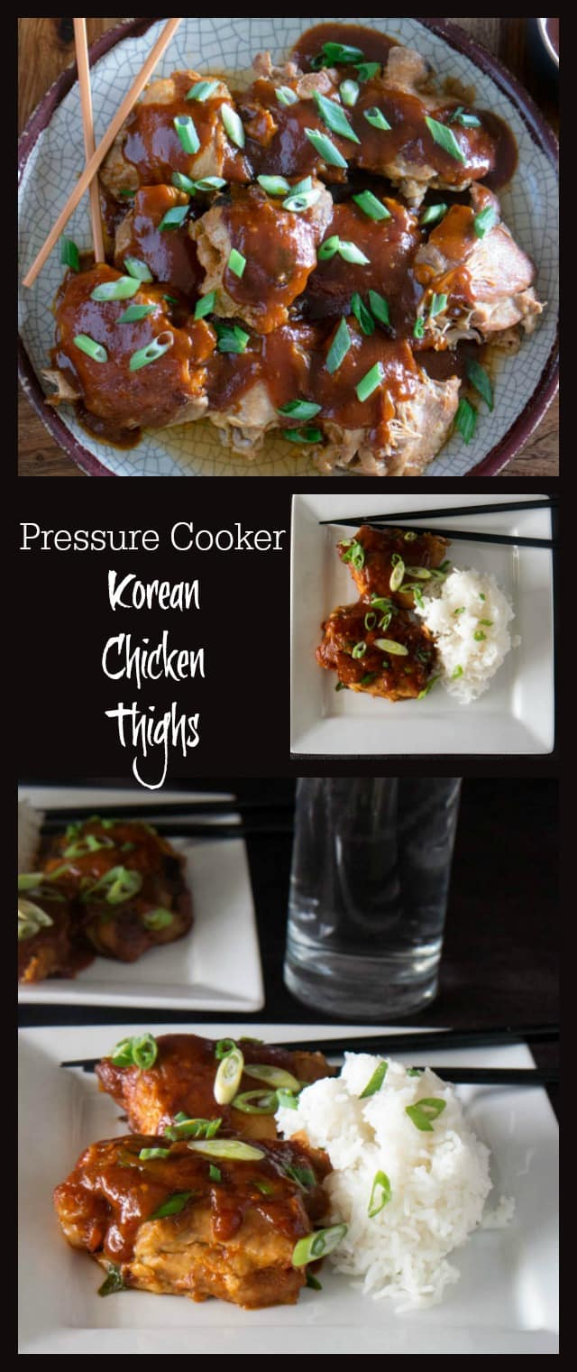 Korean chicken thighs made in an Instant Pot come out tender, juicy, and delicious in just a few minutes! Delight your taste buds with the umami, sweet, and spicy flavors in this Pressure Cooker recipe for Korean Chicken Thighs. #pressurecooking #instantpot #chickenrecipes #Asianrecipes via @PressureCook2da