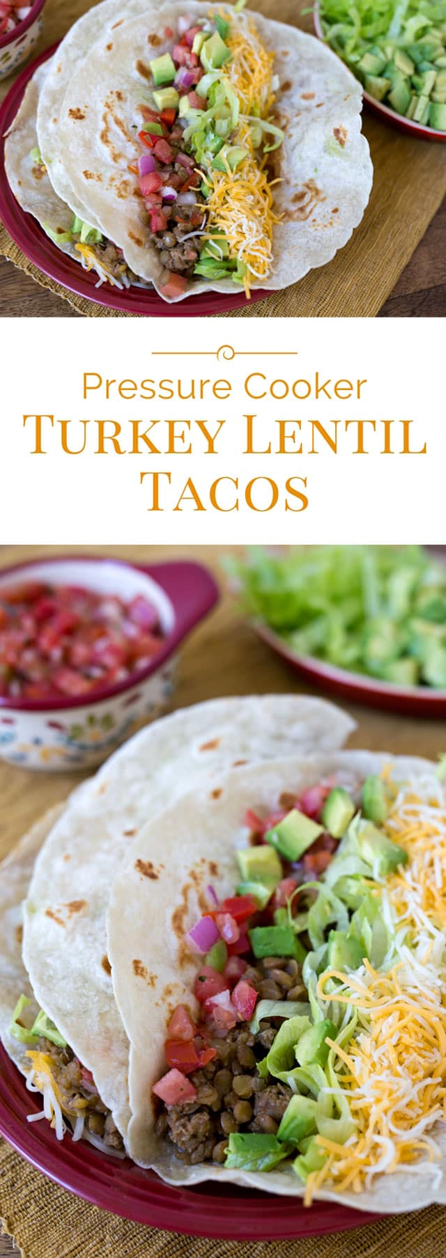 Taco filling made with lentils, lean ground turkey, onions, garlic, and a blend of Mexican spices. Makes a big batch in your Insta Pot. This Instant Pot recipe for Pressure Cooker Turkey Lentil Taco Filling is the perfect dinner solution for Taco Tuesday. A freezer friendly recipe! #instantpot #pressurecooking #tacos #freezerfriendly #mealprep via @PressureCook2da