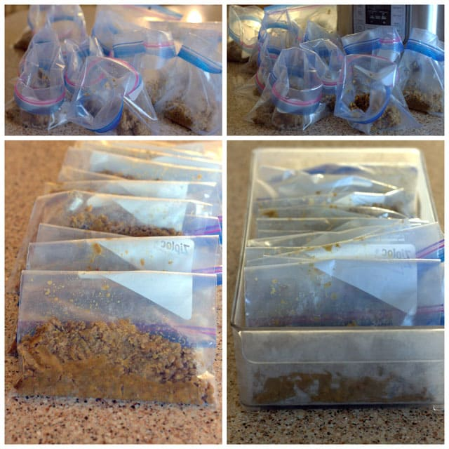 A collage of freezer bags filled with ground turkey and a lentil taco filling that was made in a pressure cooker