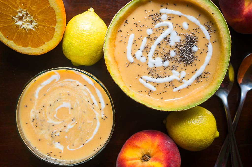 overhead image of Chilled Fruit Soup made in an Instant Pot - served in half of a hollowed out melon