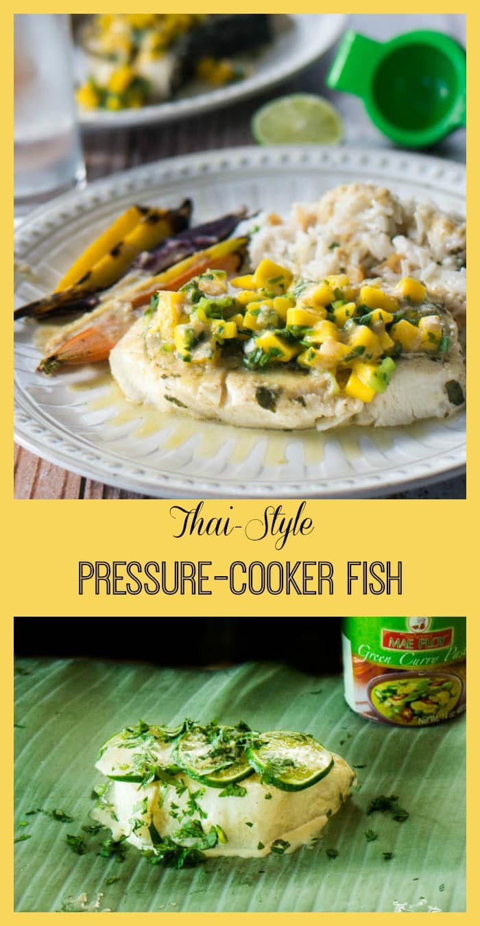 Firm white fish fillets are steamed in banana leaves after a quick soak in a coconut milk and Thai curry marinade. Then the pressure cooker fish is drizzled with marinade and topped with fresh mango salsa. This Thai-Style Pressure Cooker Fish recipe is delicious! #fishrecipe #instantpot #pressurecooker #pressurecooking #Thai via @PressureCook2da
