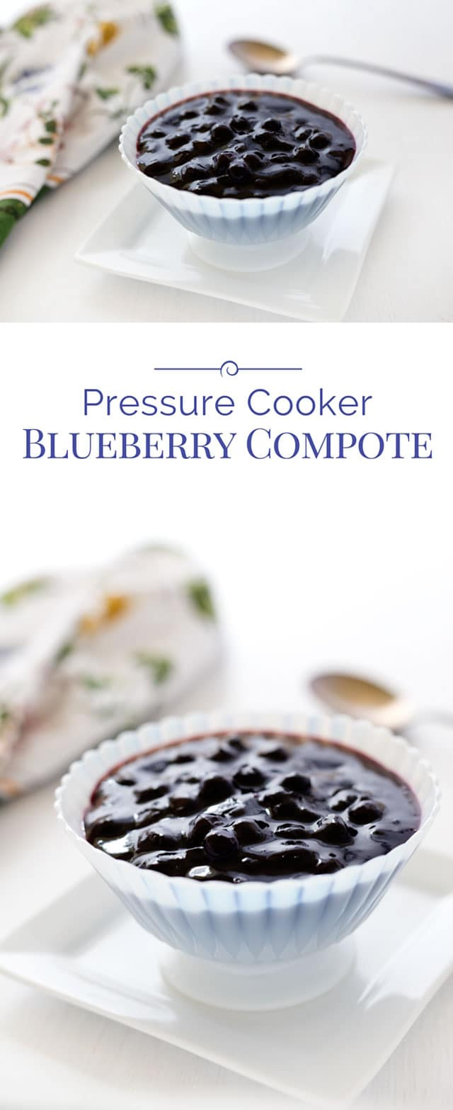 Blueberry compote is quick and easy to make using frozen blueberries. The perfect homemade blueberry compote, made in a flash in an Instant Pot! Make some today to serve over ice cream or add to other dessert recipes. #pressurecooker #instantpot #blueberries #compote #recipe #dessert via @PressureCook2da