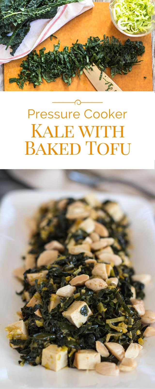 Kale with baked tofu and Spanish almonds is a healthy vegetarian pressure cooker recipe, perfect for a meatless main meal or side dish. This Instant Pot kale recipe will give you a daily dose of healthy greens. #instantpot #pressurecooker #healthyrecipe #vegetarian #tofu via @PressureCook2da