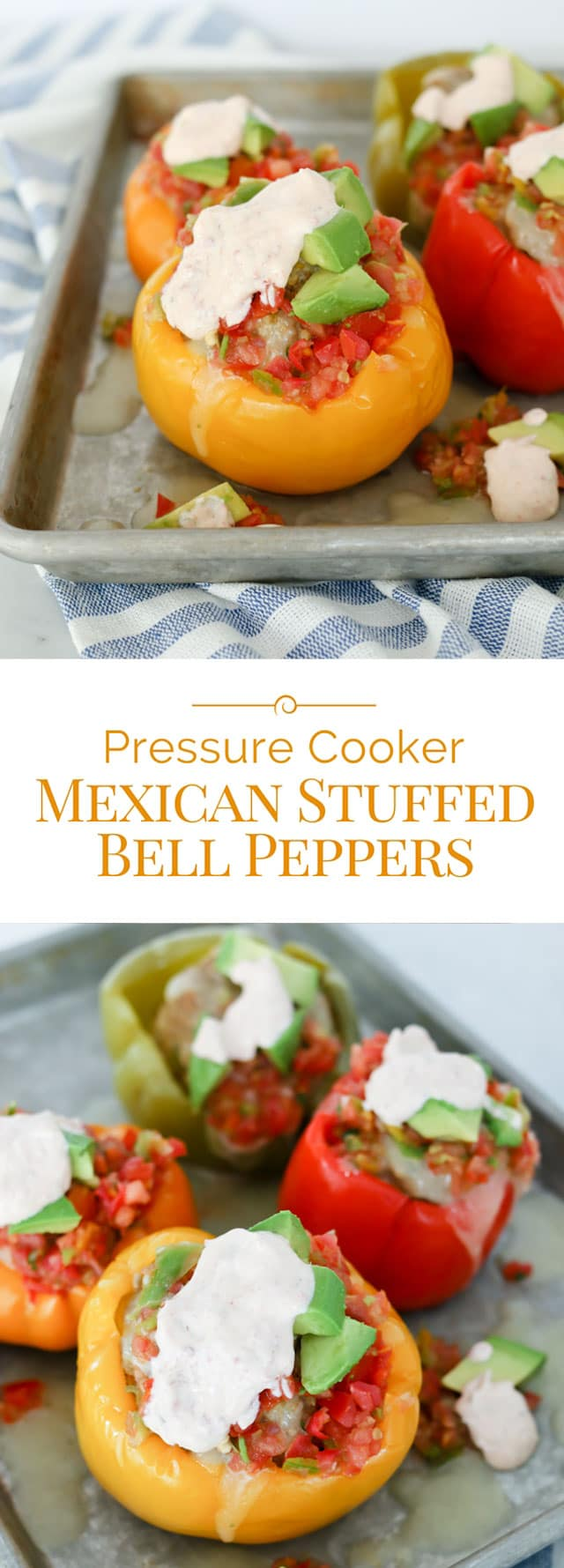 Mexican stuffed bell peppers made in a pressure cooker come out perfectly tender every time. This is the best stuffed peppers recipe, because there's no precooking required! Instant Pot recipe for Mexican Stuffed Bell Peppers with Chipotle Lime Sauce! #pressurecooking #instantpot #Mexicanrecipes #stuffedpeppers via @PressureCook2da