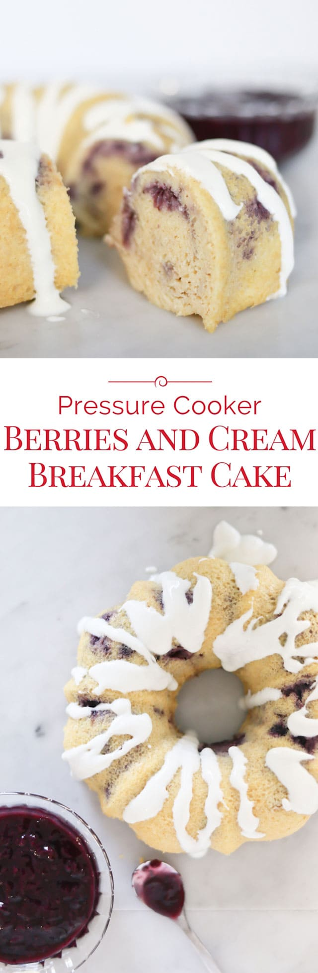 Berries and Cream Breakfast Cake is pretty enough to be called a cake, but healthy enough to call it breakfast! Make mornings special with this 100% whole grain, protein rich breakfast cake recipe for your Pressure Cooker! #instantpot #pressurecooker #breakfastrecipe #cake via @PressureCook2da