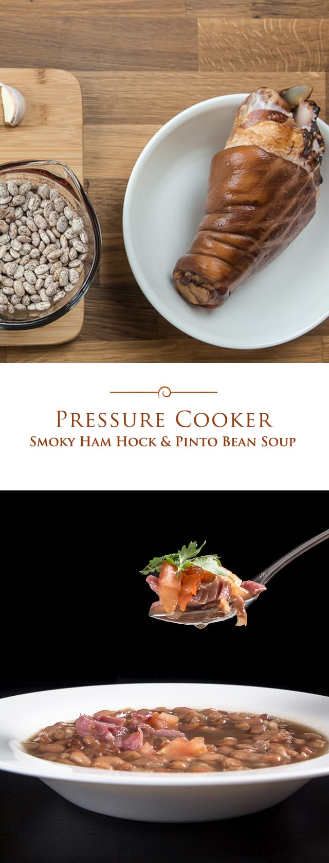 Smoky Ham Hock and Pinto Bean Soup is full of textures and flavors. You'll love the tender & moist ham lending its' smoky flavors to the fulfilling soup. This easy pressure cooker ham and bean soup recipe makes the perfect comfort food dinner. #soup #instantpot #pressurecooker via @PressureCook2da
