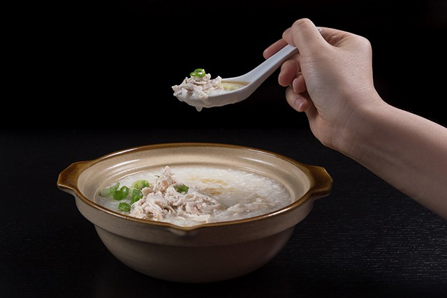 Pressure Cooker (Instant Pot) Chicken Porridge with a spoonful taken out