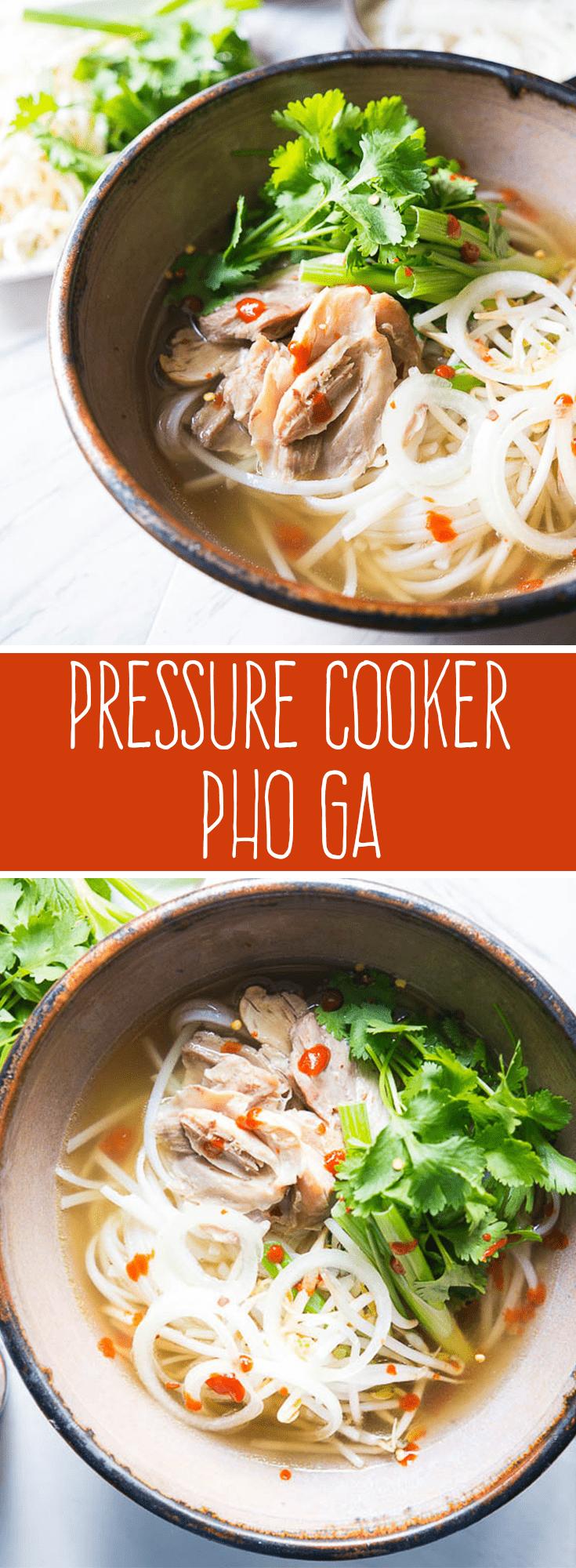 Pressure Cooker Pho Ga photo collage