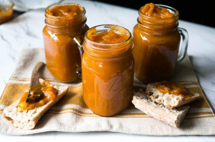 3 Mason Jars of Pressure Cooker (Instant Pot) Spiced Pumpkin Apple Butter