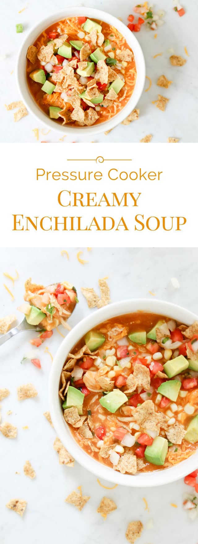 photo collage of Pressure Cooker Creamy Enchilada Soup.