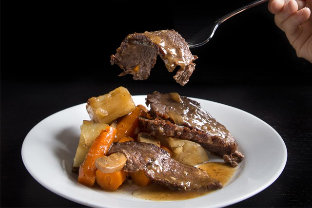 Pressure Cooker Pot Roast on a white plate