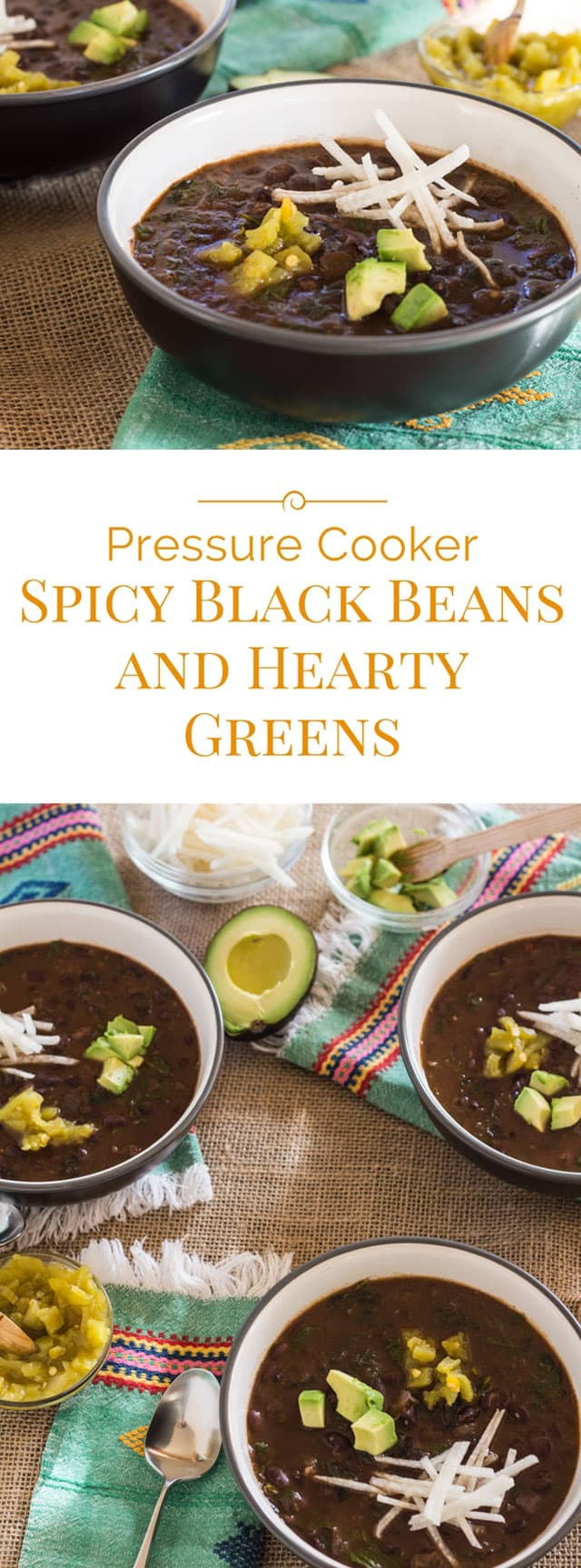 photo collage of bowls of spicy black beans with hearty greens