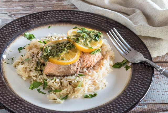 Pressure Cooker ((Instant Pot) Salmon and Rice With Lemon Caper Chimichurri
