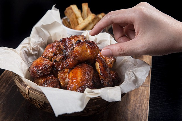 Pressure Cooker BBQ Wings in a basket