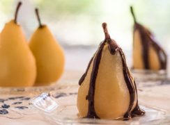 Pressure Cooker (Instant Pot) Cinnamon Poached Pears with Chocolate Sauce
