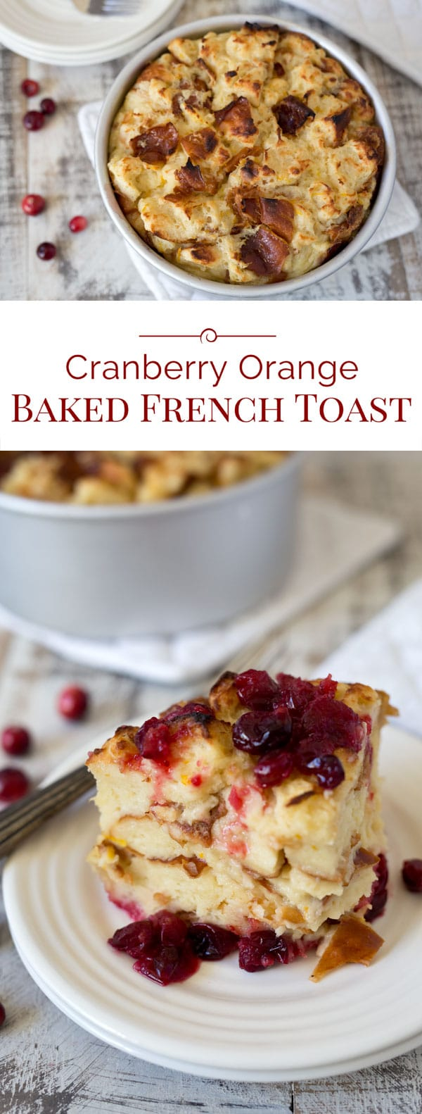 "This luscious Pressure Cooker Cranberry Baked French Toast is a perfect holiday breakfast. Tart fresh cranberries in a sweet orange sauce are topped with cubed Challah bread soaked in butter, milk, and eggs, and then ""baked\"" to create a bread pudding style French Toast."