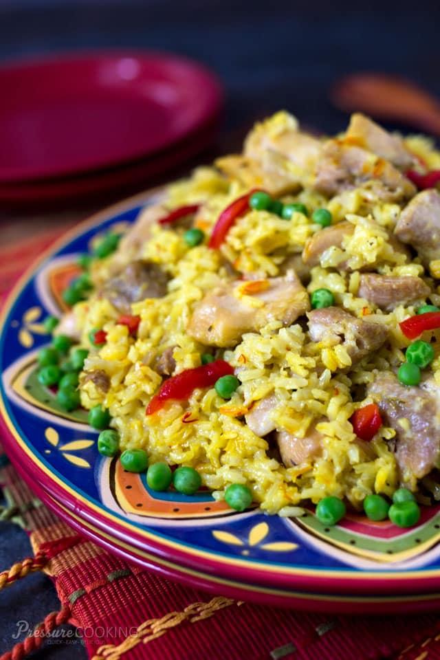 colorful platter of Pressure Cooker Arroz con Pollo