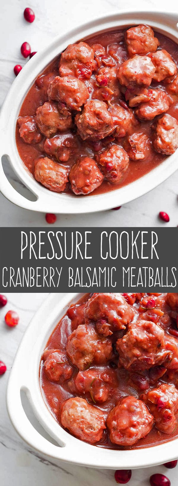 Cranberry Balsamic Meatballs are the perfect appetizer for holiday entertaining. Pop one into your mouth and taste an explosion of cranberry, rosemary, and balsamic vinegar packed into one savory bite. Making balsamic meatballs in an Instapot is quick and easy with this pressure cooker meatballs recipe. #pressurecooker #instantpot #appetizer via @PressureCook2da