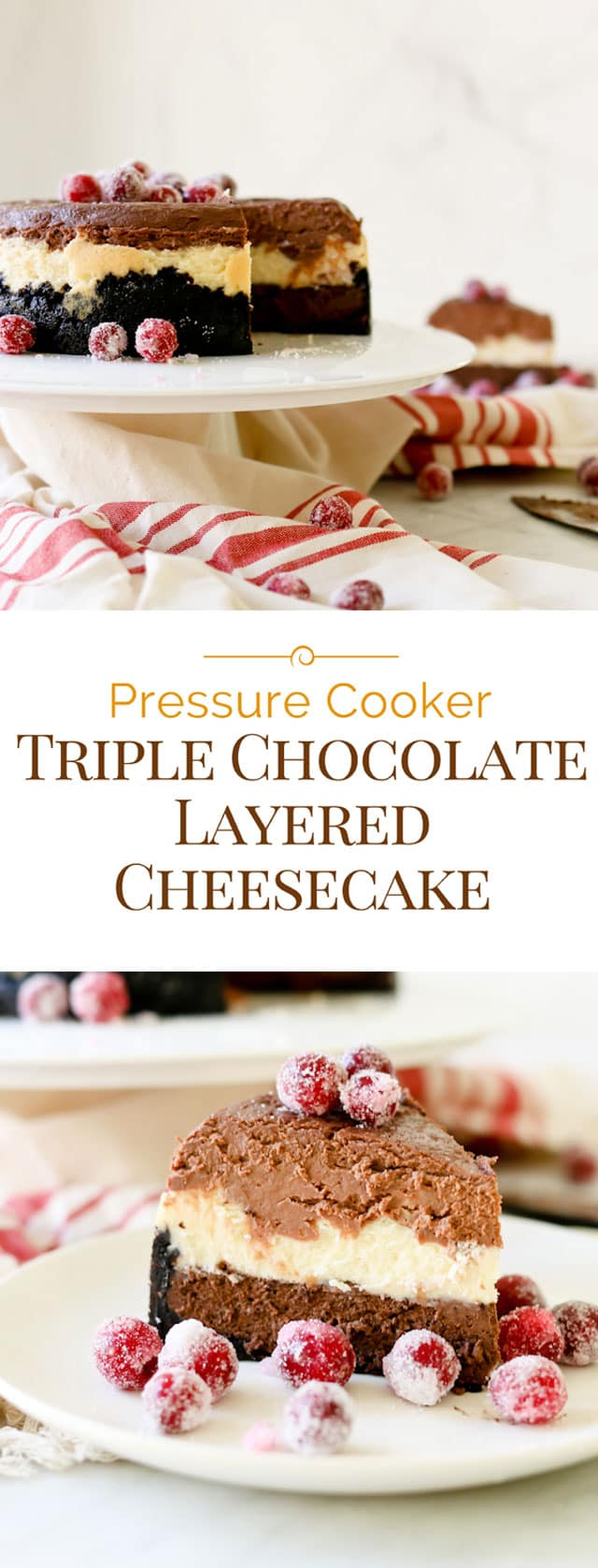 photo collage of Pressure Cooker Triple Chocolate Layered Cheesecake