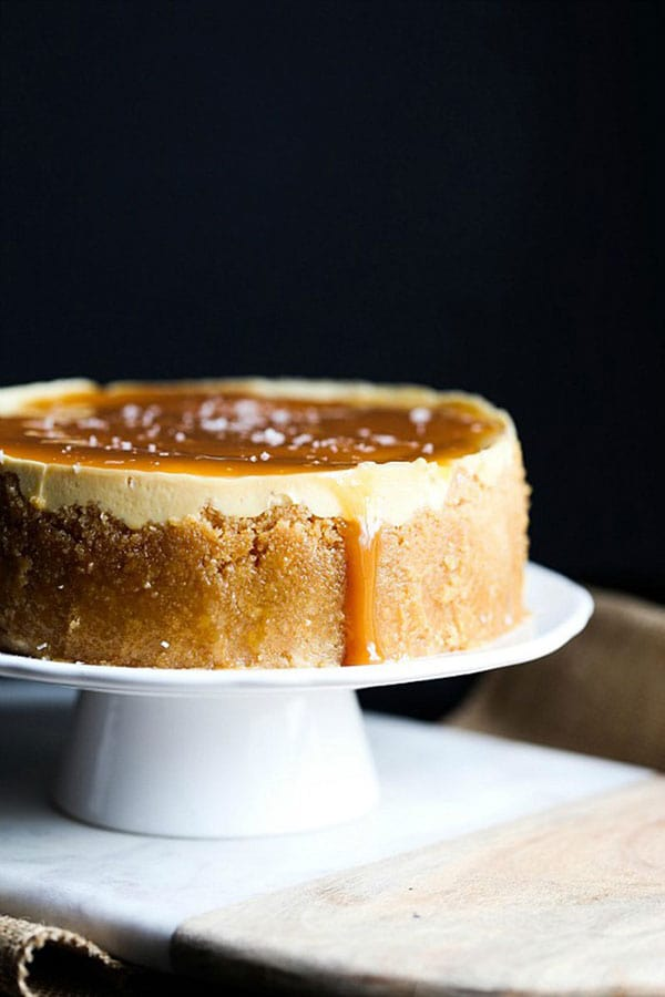 Salted Caramel Cheesecake on a cake stand
