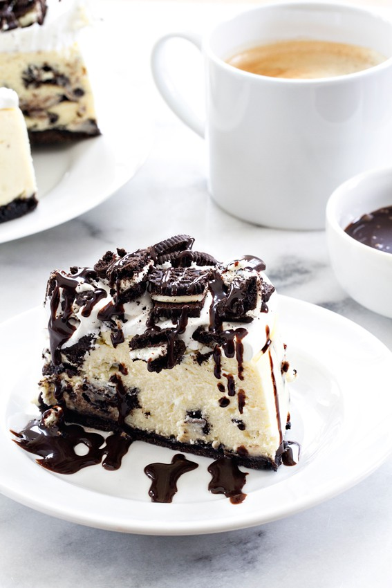 Instant Pot Oreo Cheesecake served on a white plate