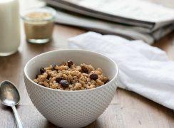 Pressure Cooker (Instant Pot) Brown Sugar Raisin Breakfast Farro served in a white bowl