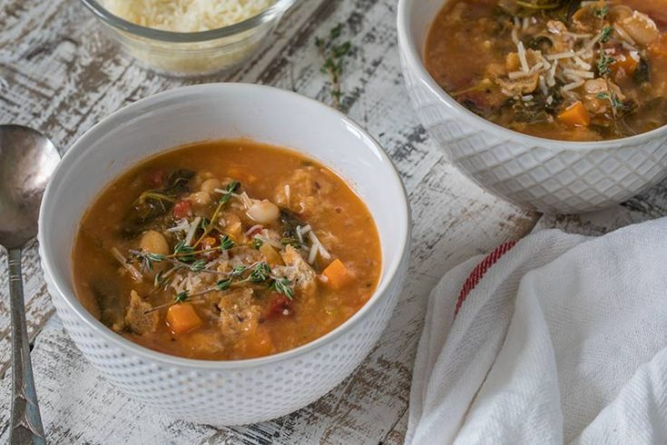 Pressure Cooker (Instant Pot) Ribollita served in two white bowls