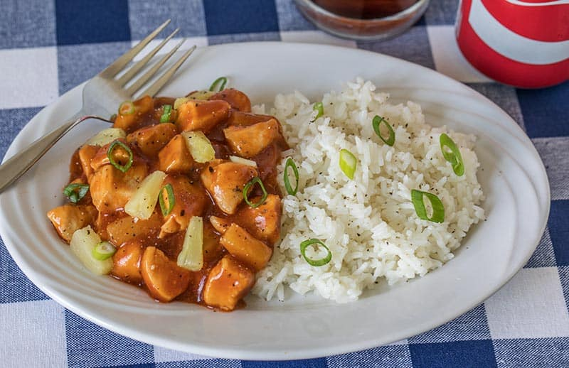 Pressure Cooker (Instant Pot) Hawaiian BBQ Chicken served with rice