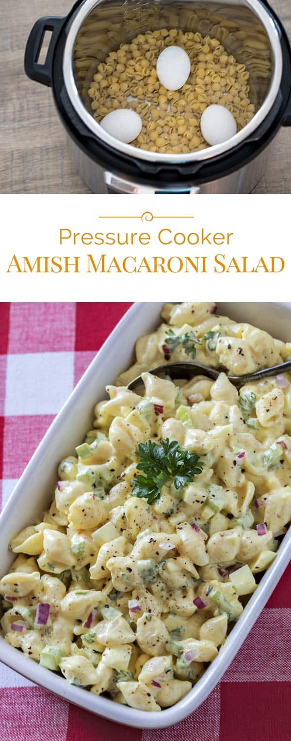 Easy-to-make pressure cooker Amish Macaroni Salad is a classic, old-fashioned side dish for summer. Perfect with whatever you\'re grilling or that picnic in the park.