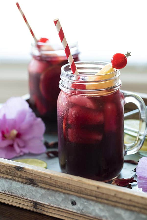 Hibiscus tea is a natural source of Vitamin C and antioxidants, and maylower blood pressure.You can drink it hot or cold.