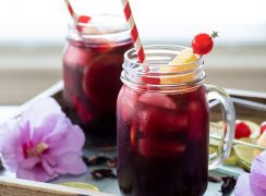 Pressure Cooker (Instant Pot) Zobo Drink - Hibiscus Tea in mason jars with straws