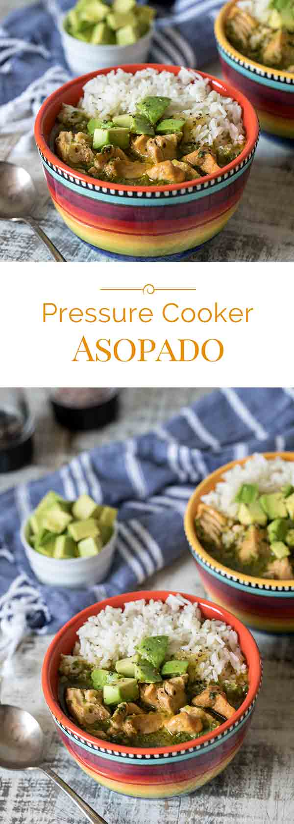 Asopado is a sort of a cross between soup and paella. This Pressure Cooker Asopado is quick and easy to make and has a bright fresh flavor.