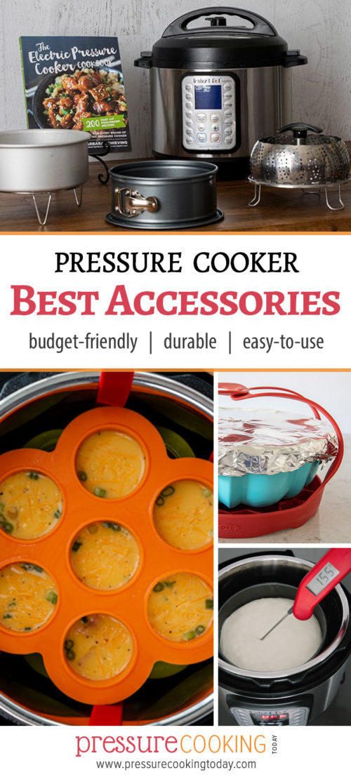 Pinterest Image for Pressure Cooking Today\'s recommended accessories, featuring a cake pan, sling, bundt pan, silicone egg bite tray, and Instant-read thermometer.