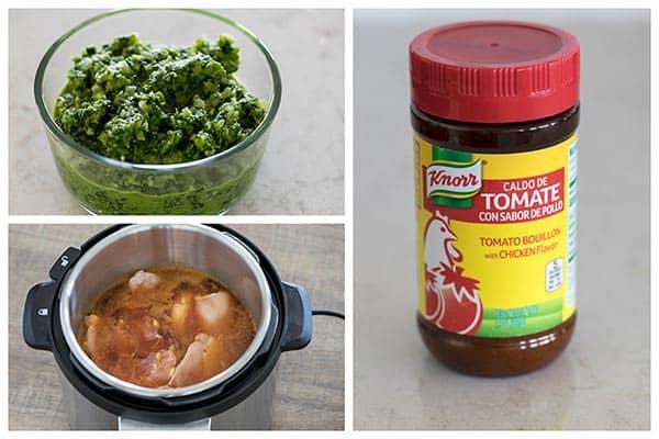 collage of Sofrito-Caldo-de-Tomate being made