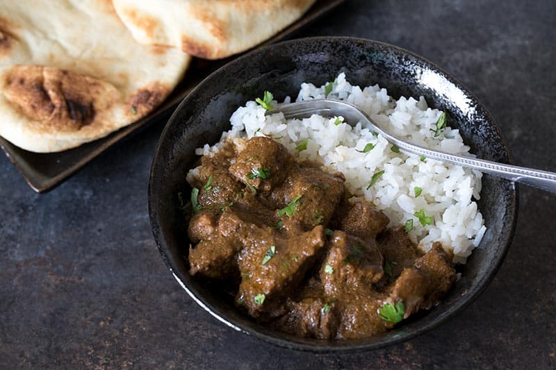 Pressure Cooker (Instant Pot) Beef Curry on a plate with rice
