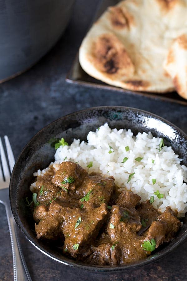 A simple, not-too-spicy pressure cooker beef curry made with fresh ingredients you probably already have on hand.