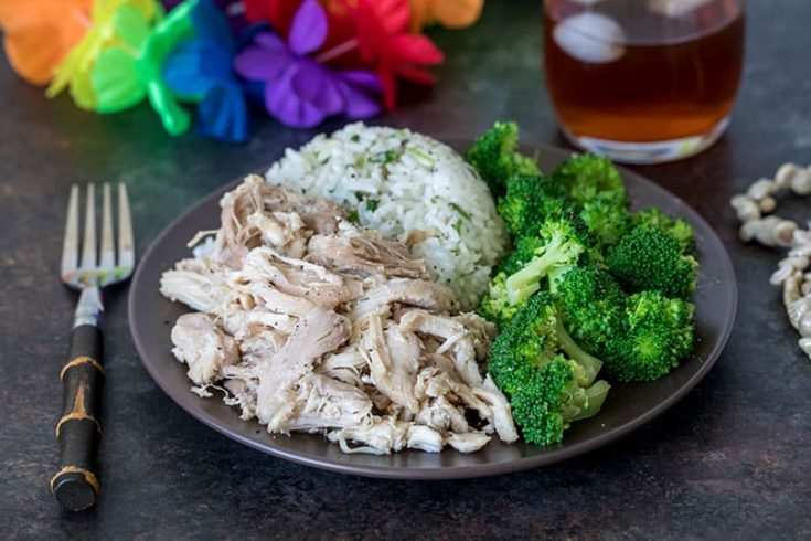 Pressure Cooker (Instant Pot) Kalua Chicken served on a plate with broccoli