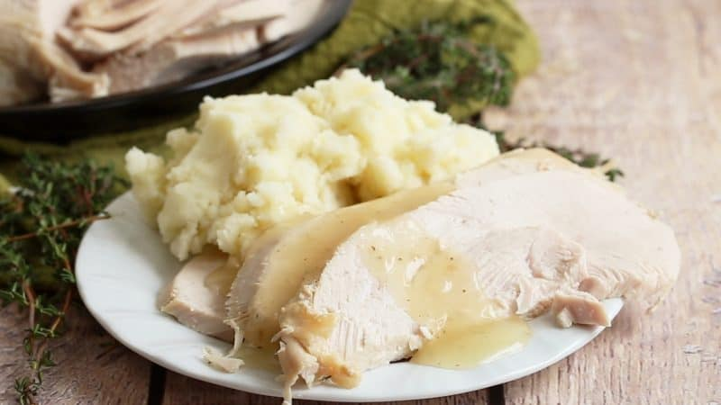 Thanksgiving turkey cooked in the electric pressure cooker (Instant Pot)
